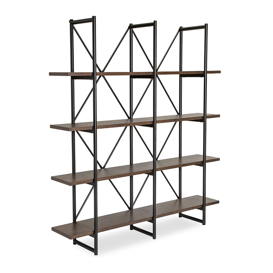 Finn Modern Industrial Scandinavian Wide Bookshelf / Display Shelf BROSA SHLFIE10GRY Field Triple Open Shelf, RETROJAN Lucy Designer Triple Open Shelf, TEMPLE & WEBSTER TMPL1100 Large Odessa Industrial Shelving Unit