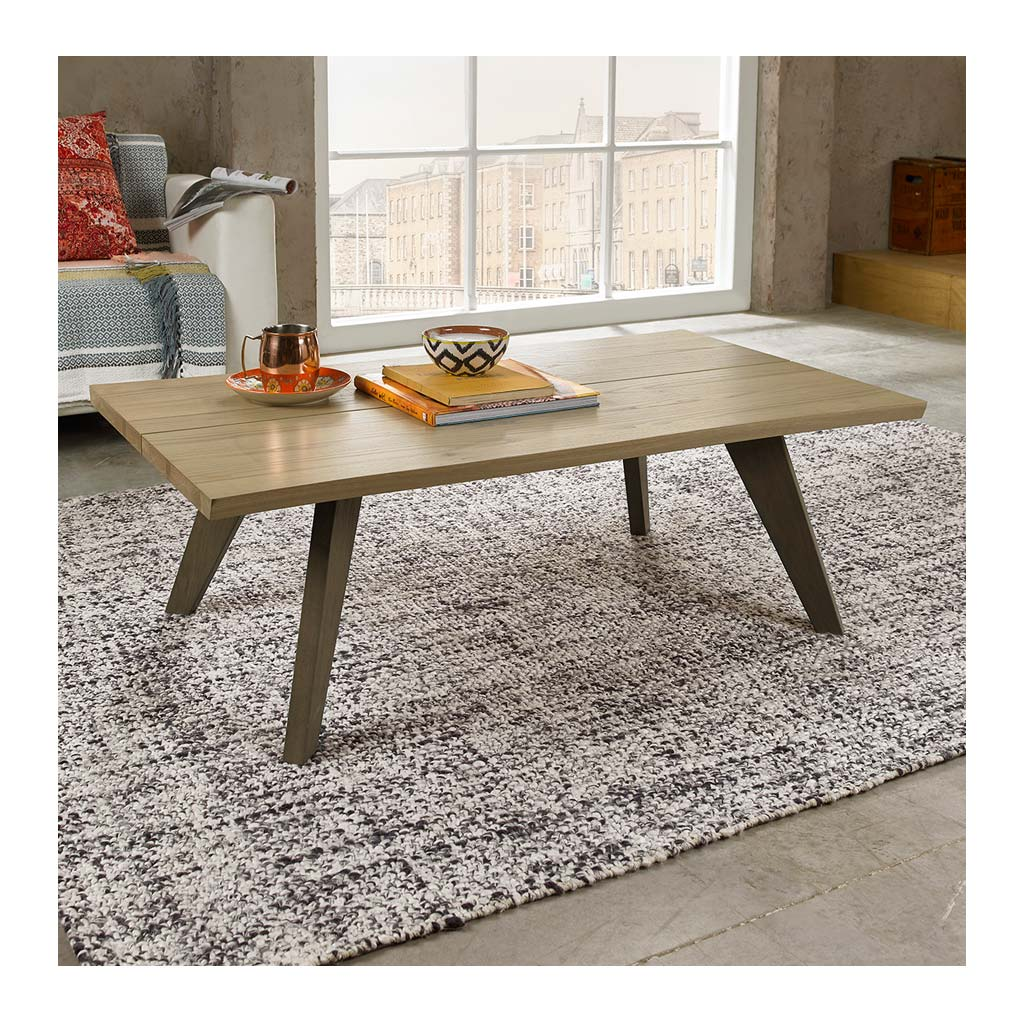 Fredrik Rustic Industrial Scandinavian Wooden Oak Coffee Table lifestyle