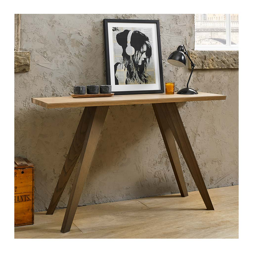 Fredrik Rustic Industrial Scandinavian Wooden Oak Console Table RETROJAN Zephyr Contemporary Style Aged Oak Console Table lifestyle
