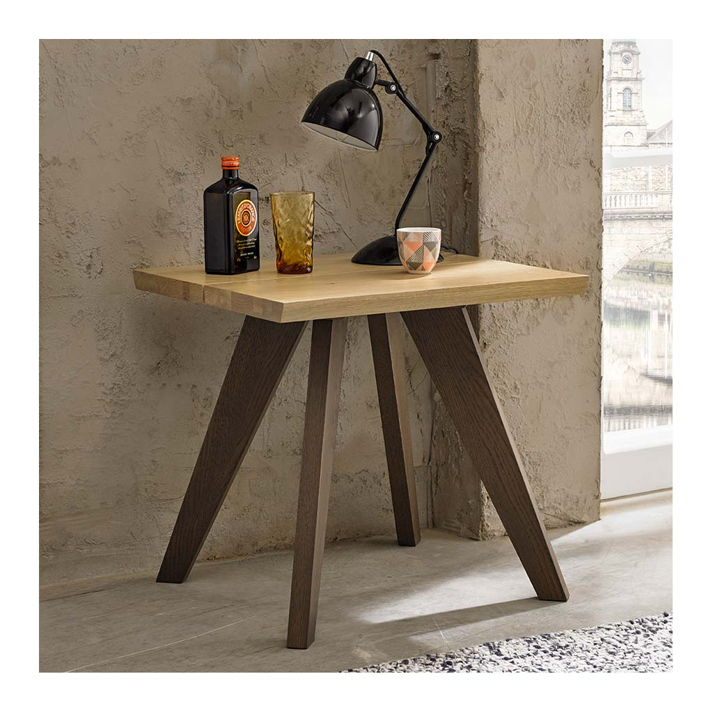 Fredrik Rustic Industrial Scandinavian Wooden Oak Side Table lifestyle