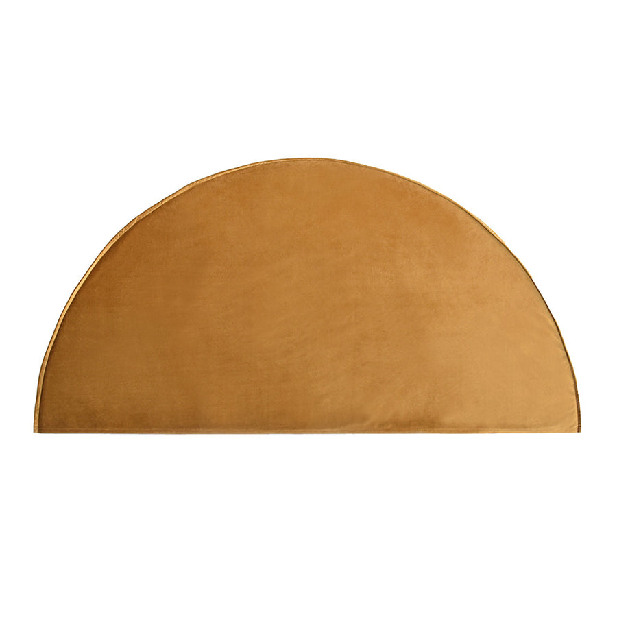 Beds Create Estate Half Moon Upholstered Queen Bedhead - Velvet Slipcover, Mustard Gold