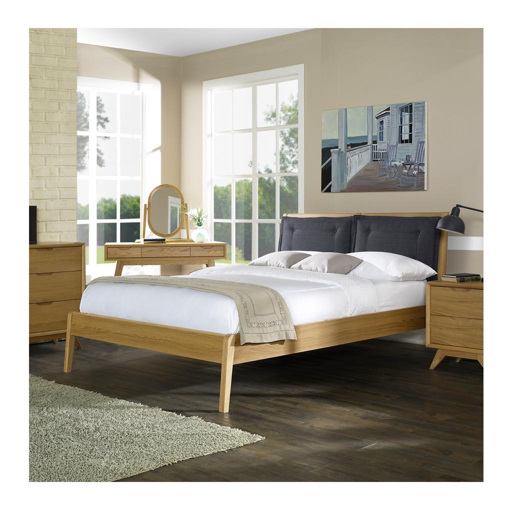 Hans Scandinavian Wooden Oak Queen Bed lifestyle