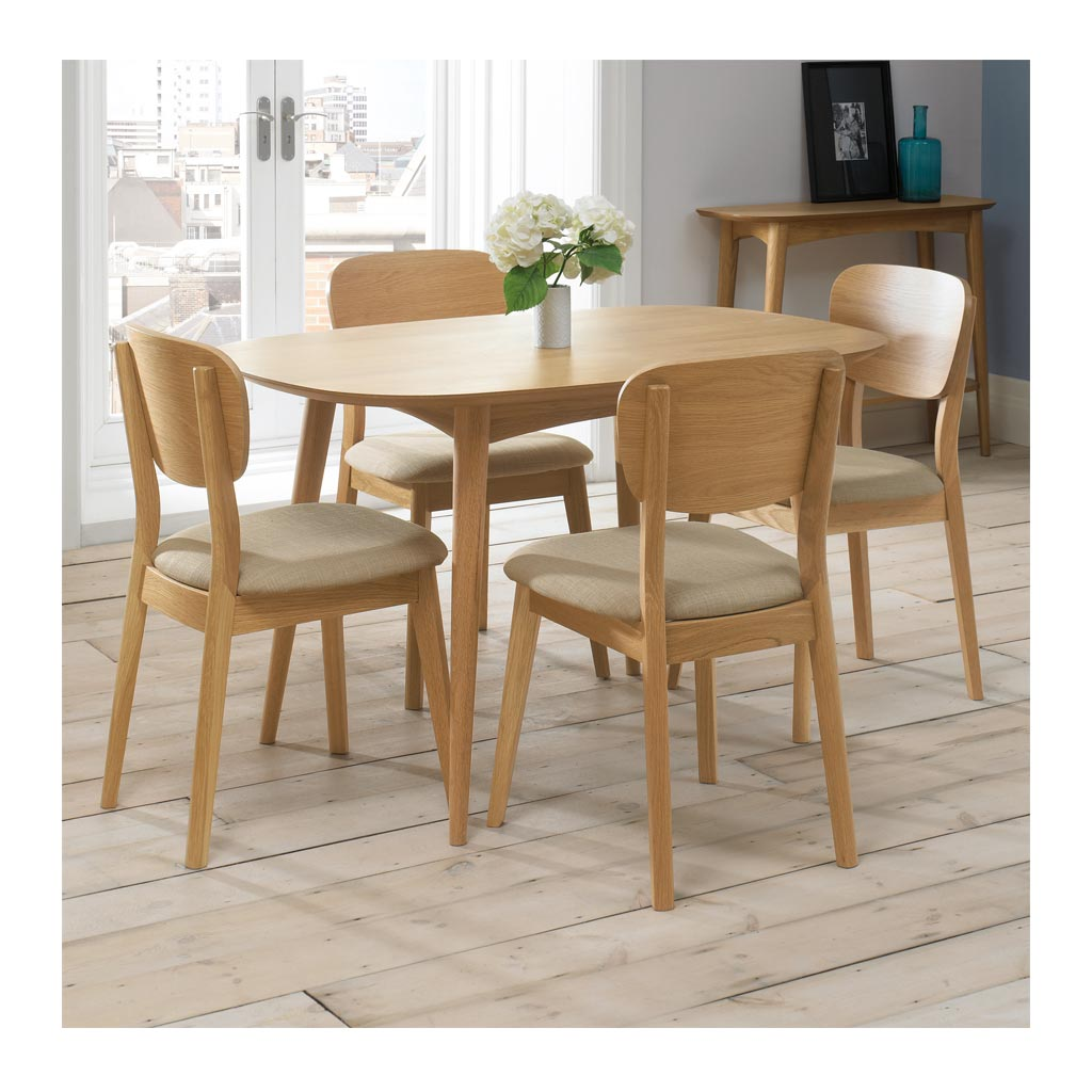 Ingrid Retro Scandinavian Wooden Oak 4 Seater Dining Table BROSA Mia Dining Table INTERIOR SECRETS  DT782-VN Johansen 1.3m Fixed Dining Table - Natural MATT BLATT Stockholm Dining Table Small