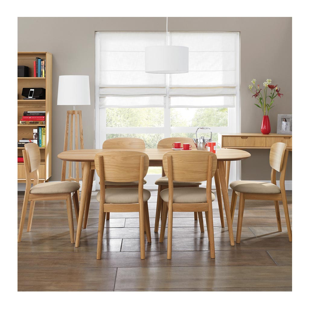 Ingrid Retro Scandinavian Wooden Oak 6 Seater Dining Table BROSA Mia 175cm Dining Table INTERIOR SECRETS DT781-VN Johansen Scandinavian Fixed Dining Table - Natural lifestyle LIFE INTERIORS Stockholm Dining Table (Oak)