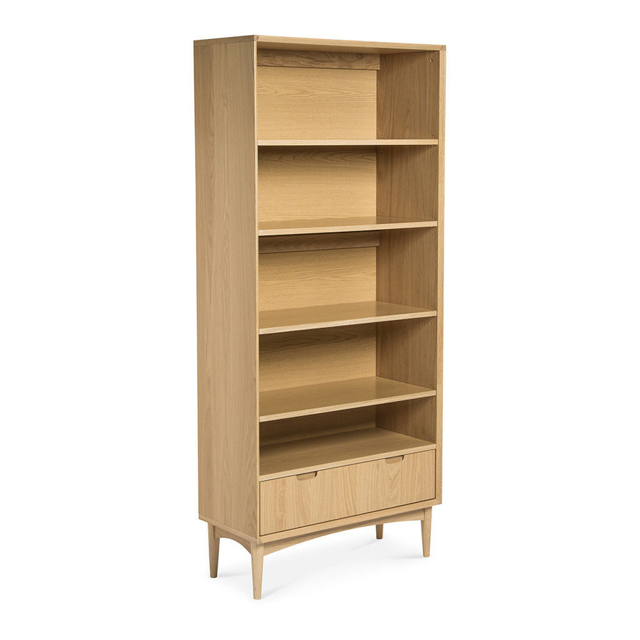 Ingrid Retro Scandinavian Wooden Oak Bookcase / Bookshelf BROSA Mia Wide Bookcase INTERIOR SECRETS DT768-VN Johansen Wide Bookcase - Natural RETROJAN Vaasa Benjamin Scandinavian Style Wide Bookcase MATT BLATT Stockholm Double Bookshelf