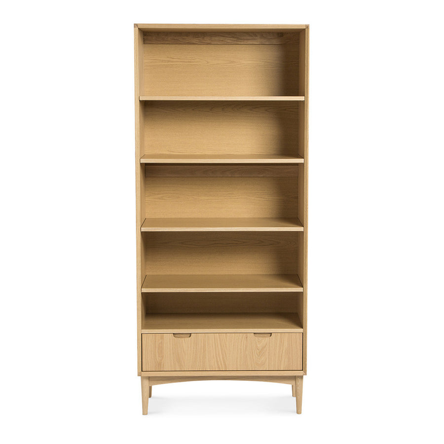 Ingrid Retro Scandinavian Wooden Oak Bookcase / Bookshelf BROSA Mia Wide Bookcase INTERIOR SECRETS DT768-VN Johansen Wide Bookcase - Natural  MATT BLATT Stockholm Double Bookshelf