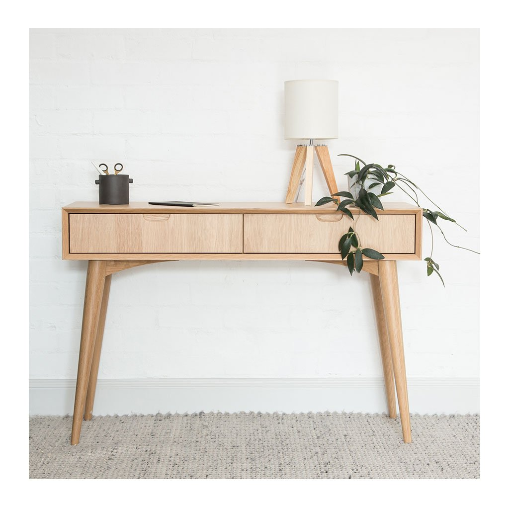 Ingrid Retro Scandinavian Wooden Oak Console Table with Drawers BROSA Mia Console Table With Drawers INTERIOR SECRETS DT776-VN Johansen Console Table with Drawers RETROJAN Vaasa Tyson Console - Oak MATT BLATT Stockholm Console Table lifestyle LIFE INTERIORS Stockholm Console Table Drawer Oak