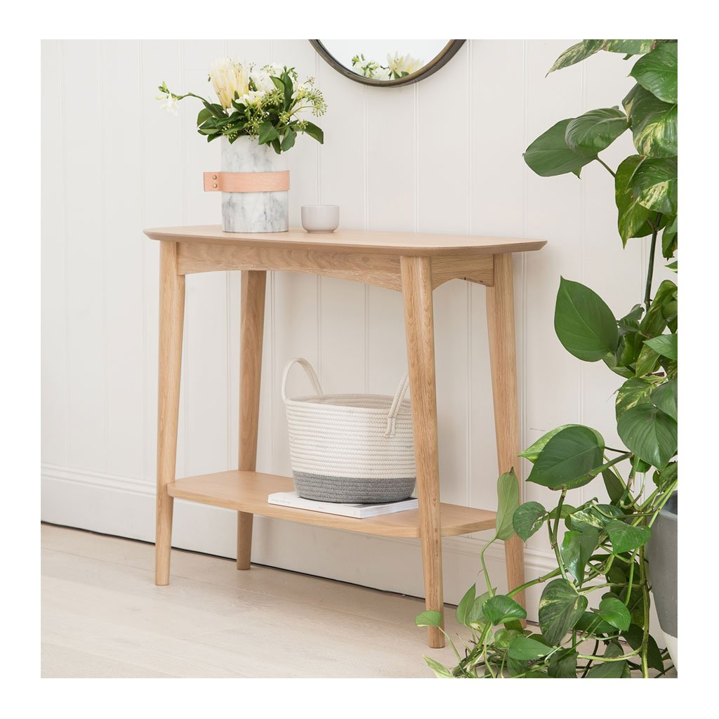 Ingrid Retro Scandinavian Wooden Oak Console Table with Shelf BROSA Mia Console Table with Shelf INTERIOR SECRETS DT777-VN Johansen Console Table with Shelf LIFE INTERIORS Stockholm Console Table