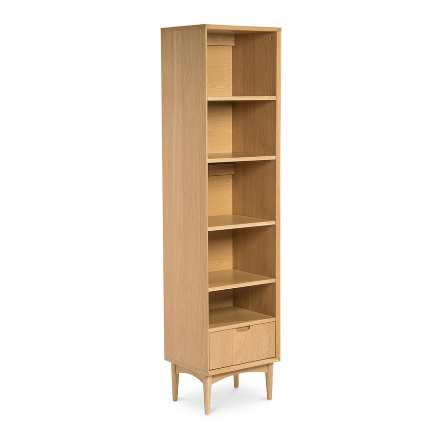 Ingrid Retro Scandinavian Wooden Oak Narrow Bookcase / Bookshelf BROSA Mia Narrow Bookcase INTERIOR SECRETS DT769-VN Johansen Narrow Bookcase - Natural RETROJAN Vaasa Luka Scandinavian Style Narrow Bookcase MATT BLATT Stockholm Single Bookshelf LIFE INTERIORS Stockholm Narrow Bookshelf (Oak)