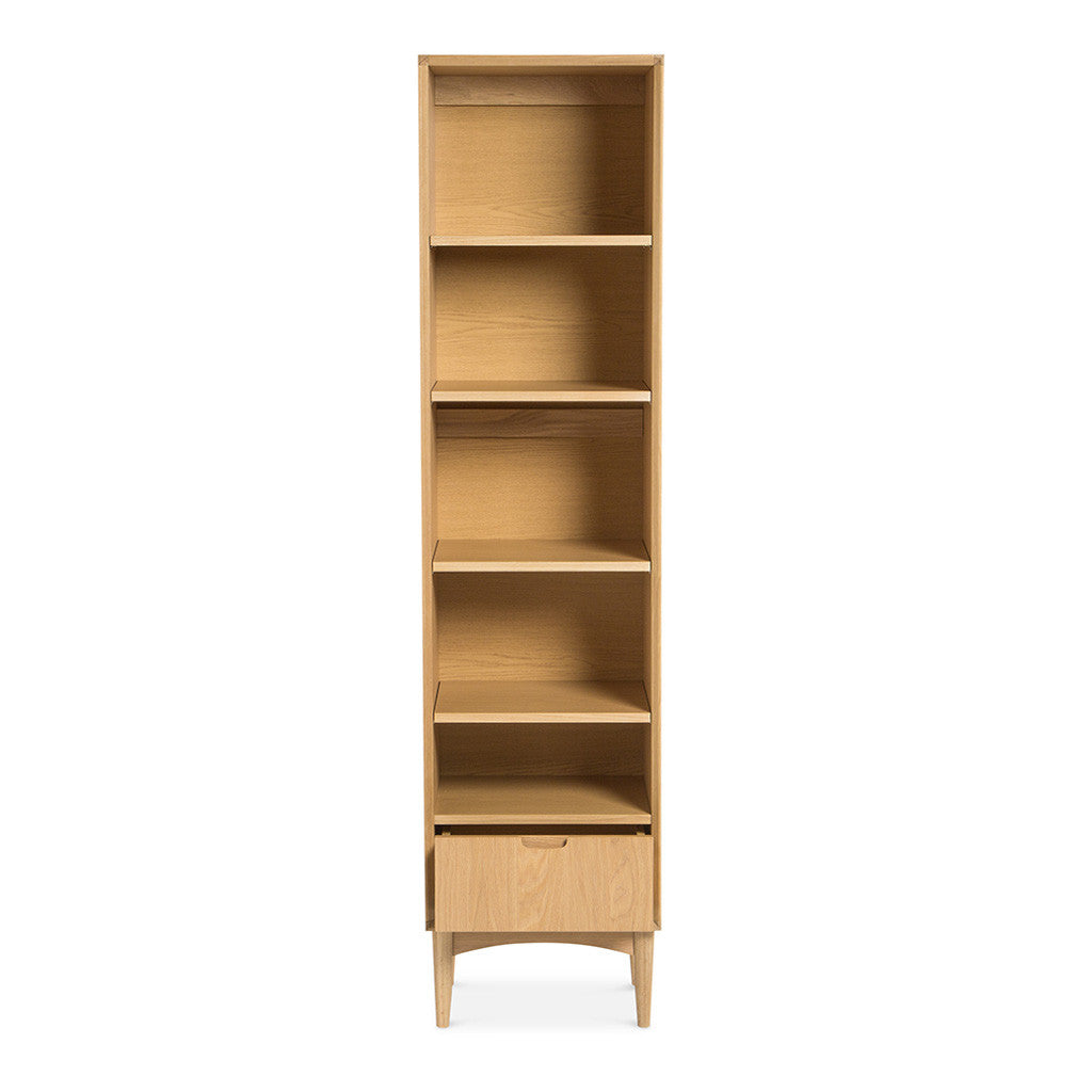 Ingrid Retro Scandinavian Wooden Oak Narrow Bookcase / Bookshelf BROSA Mia Narrow Bookcase INTERIOR SECRETS DT769-VN Johansen Narrow Bookcase - Natural MATT BLATT Stockholm Single Bookshelf LIFE INTERIORS Stockholm Narrow Bookshelf (Oak)