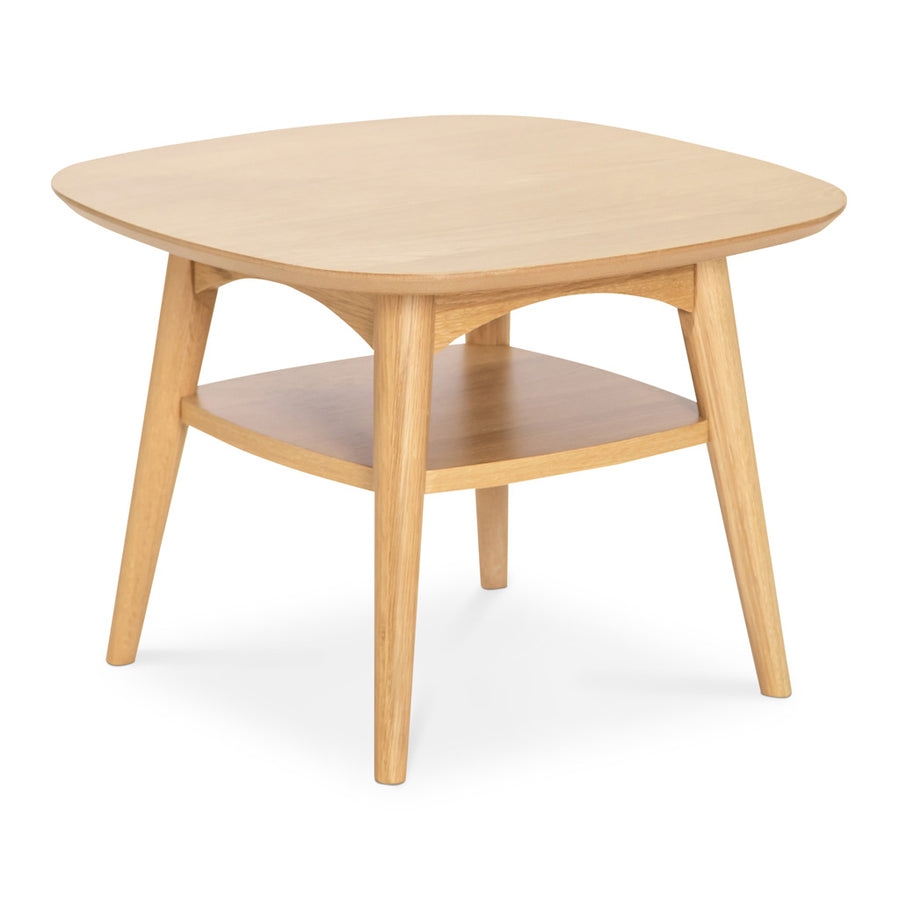 Ingrid Retro Scandinavian Wooden Oak Side Table with Shelf BROSA TBLMIA05OAK Mia Lamp Table with Shelf, INTERIOR SECRETS  CF691-VN Johansen Scandinavian Lamp Side Table - Natural, LIFE INTERIORS Stockholm Lamp Table (Shelf, Oak)