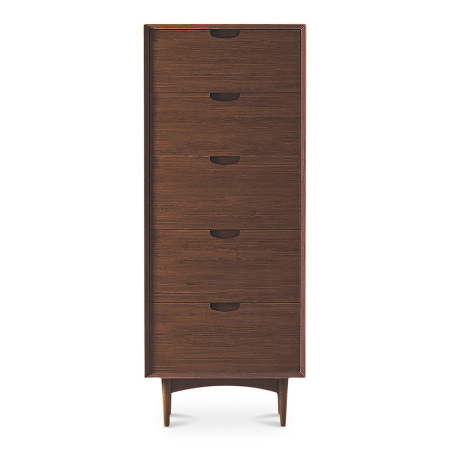 Isaak Danish Scandinavian Walnut and Beech Wood Chest of 5 Drawers / Tall Boy BROSA CODETH07WAL Ethan Narrow Chest of Drawers, RETROJAN Mia 5 Drawer Chest - Walnut, LIFE INTERIORS  Saturn Chest of 5 Drawers (Walnut)