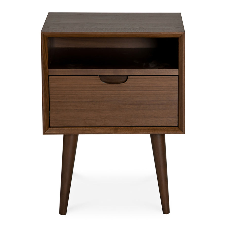 Isaak Danish Scandinavian Walnut and Beech Wood Bedside Table with Drawer BROSA STBETH01WAL Ethan Square Side Table, INTERIOR SECRETS  ST221WAL-VN Asta SQ Wooden Bedside Table - Walnut, RETROJAN Mia Nightstand with Shelf - Walnut, LIFE INTERIORS Orbit 1 Drawer Nightstand (Walnut)