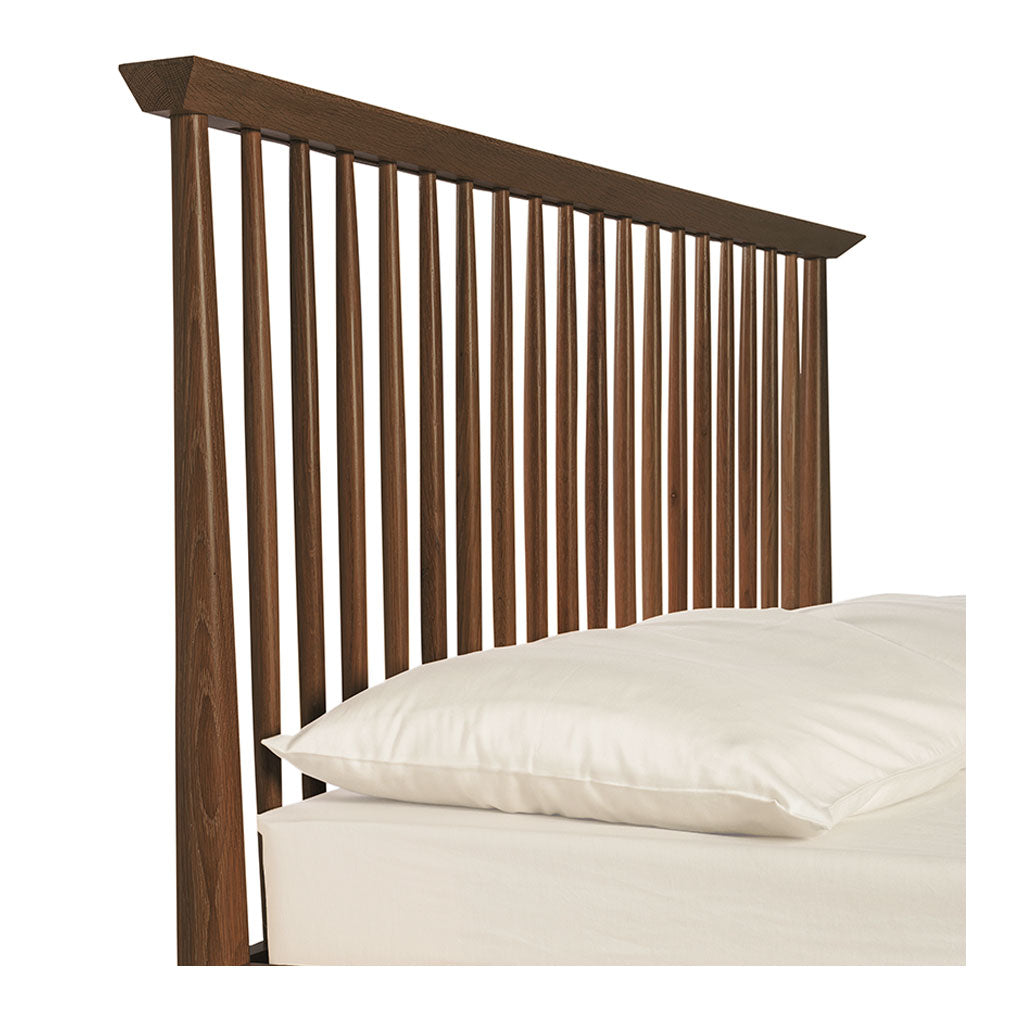 Isaak Danish Scandinavian Walnut and Beech Wood Queen Bed BROSA BEDETH13WAL Ethan Queen Size Wooden Bed Frame, Walnut