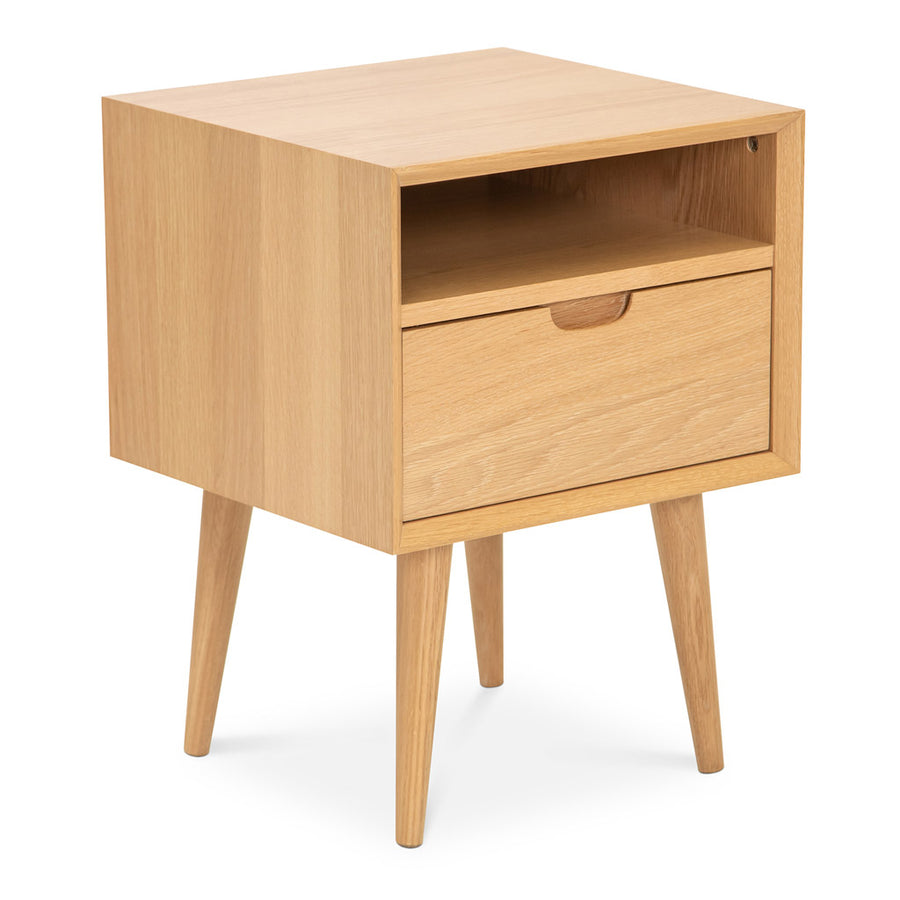 Jakob Danish Scandinavian Wooden Oak Bedside Table with Drawer BROSA STBETH01OAK Ethan Square Side Table, INTERIOR SECRETS  CF695-VN Asta SQ Wooden Bedside Table, LIFE INTERIORS Orbit 1 Drawer Nightstand (Oak), TEMPLE AND WEBSTER TPWT2532 Olsen Oak Square 1 Drawer Bedside Table