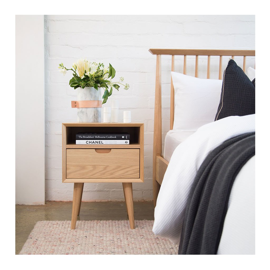 Jakob Danish Scandinavian Wooden Oak Bedside Table with Drawer BROSA Ethan Square Side Table INTERIOR SECRETS CF695-VN Asta SQ Wooden Bedside Table RETROJAN Mia Contemporary Nightstand with Shelf