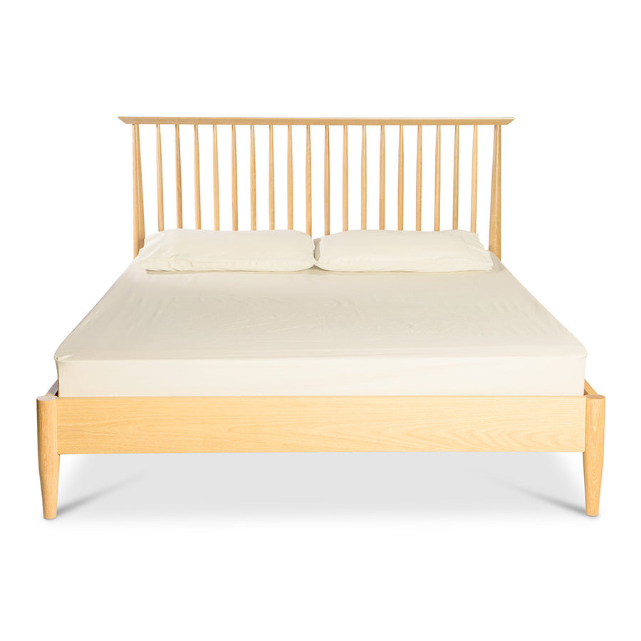 Jakob Danish Scandinavian Wooden Oak Queen Bed BROSA BEDETH11OAK Ethan Queen Size Wooden Bed Frame, INTERIOR SECRETS  BD004-VN Asta 150cm Queen Low Spindle Bed Base, MATT BLATT  Stockholm Queen Bed, TEMPLE AND WEBSTER TPWT2531 Queen Olsen Oak Spindle Bed