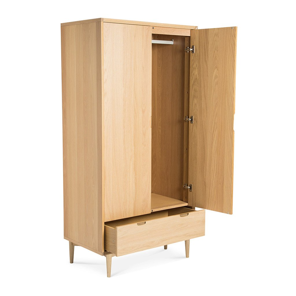 Jakob Danish Scandinavian Wooden Oak Double Wardrobe LIFE INTERIORS Saturn Double Wardrobe (Oak)