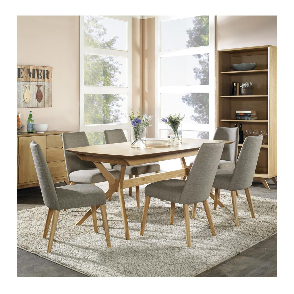 Josefine Scandinavian Wooden Oak and Grey Linen Dining Chair INTERIOR SECRETS DC789STE-VN Miles Scandinavian Upholstered Modern Dining Chair RETROJAN SET OF 2 Nikoli-Taper Back Upholstered Dining Chair - Linen MATT BLATT Norfolk Dining Chair lifestyle