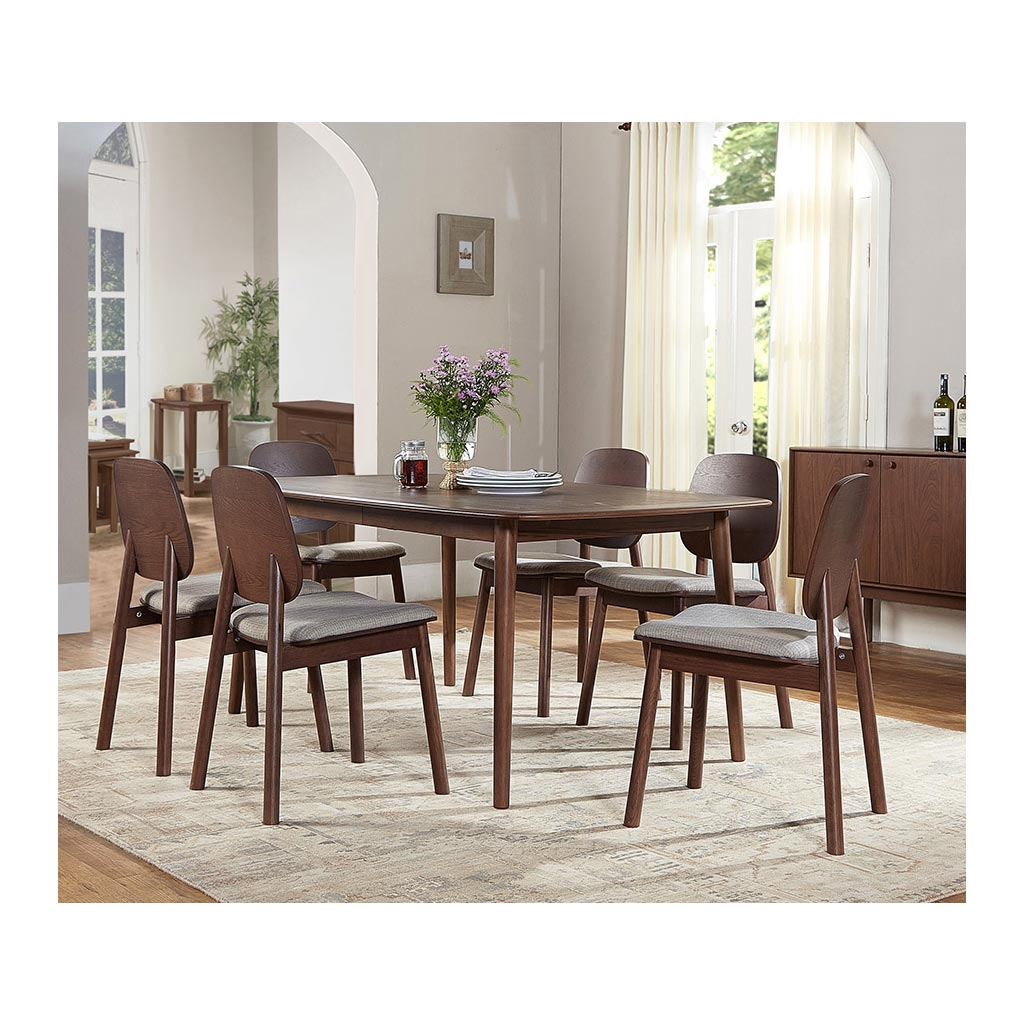 Kenjin Japanese Scandinavian Walnut and Beech Wood Extendable 6 - 8 Seater Dining Table RETROJAN  Akira Contemporary Extension Dining Table - Walnut
