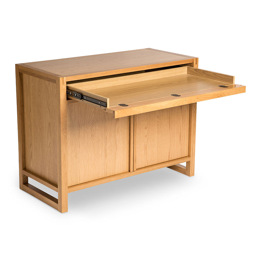 Kristof Scandinavian Wooden Oak Home Office Sideboard and Desk LIFE INTERIORS Aspen Narrow Sideboard