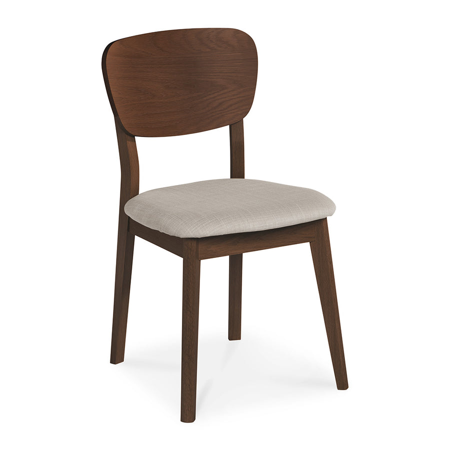 Logan Scandinavian Walnut and Beech Wood Grey Linen Dining Chair INTERIOR SECRETS  DC785WAL-VN Johansen Veneer Dining Chair - Fabric Seat - Walnut