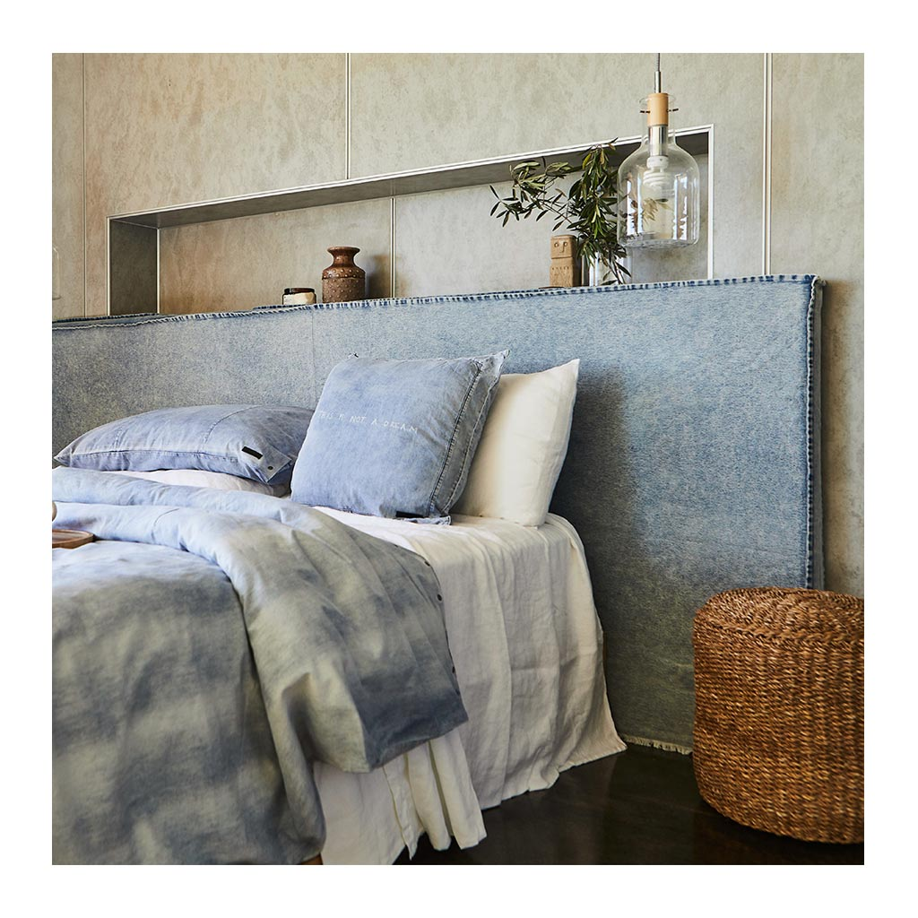 Beds Create Estate Long Time Upholstered Queen Bedhead - Denim Slipcover