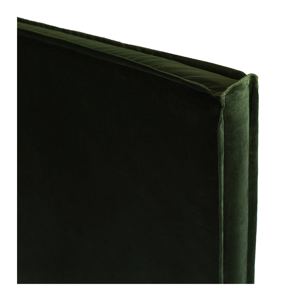 Beds Create Estate Long Time Upholstered Queen Bedhead - Velvet Slipcover, Forest Green