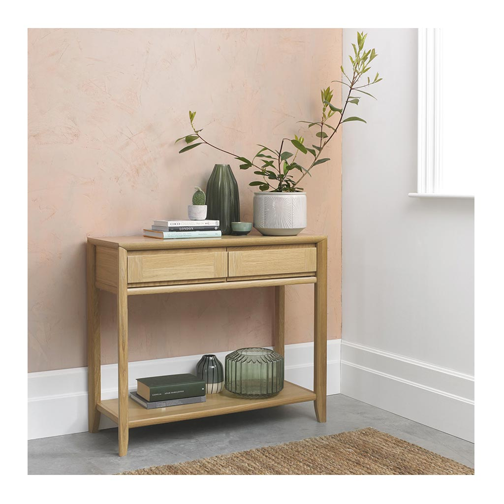 Mabel Country Style Scandinavian Wooden Oak Console Table with Drawers