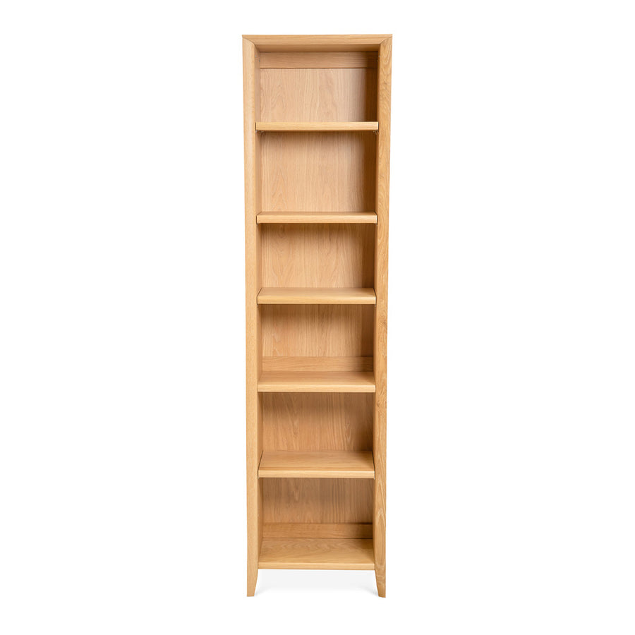 Mabel Country Style Scandinavian Wooden Oak Narrow Bookcase / Bookshelf RETROJAN Porter Narrow Bookcase