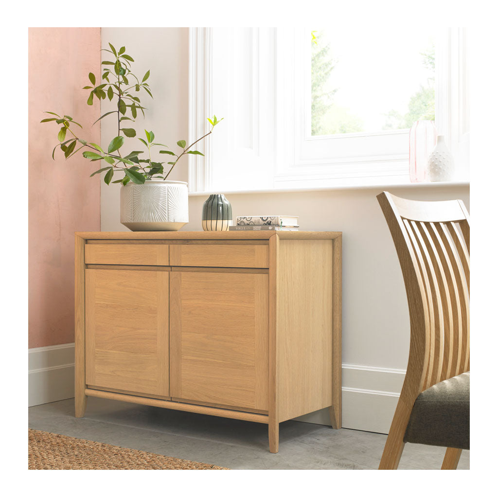 Mabel Country Style Scandinavian Wooden Oak Narrow Sideboard