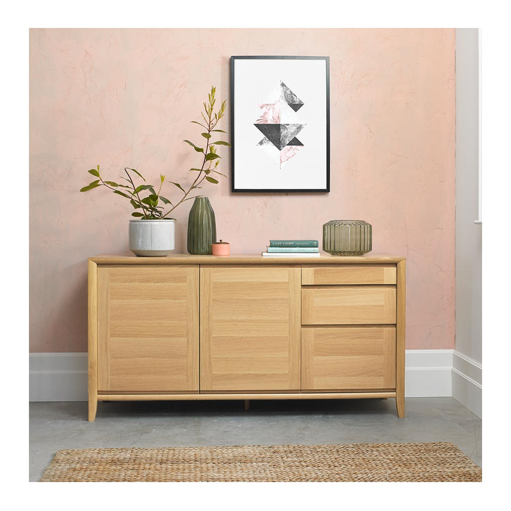Mabel Country Style Scandinavian Wooden Oak Sideboard RETROJAN Porter Wide Sideboard