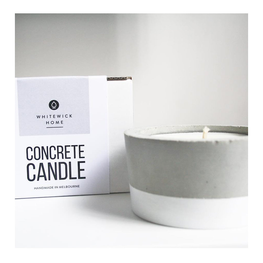 Decor Whitewick Home Concrete Soy Candle   Gardenia, Medium