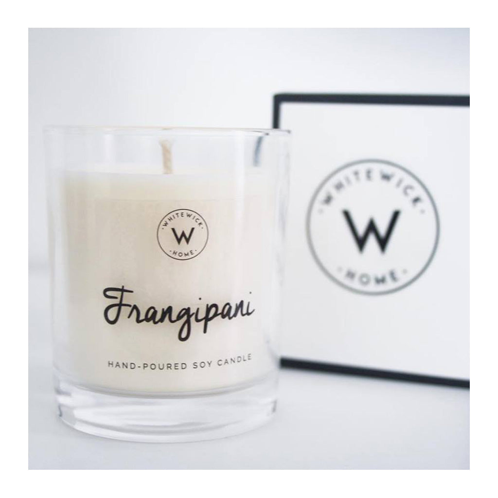 Decor Whitewick Home Glass Soy Candle   Frangipani, Medium
