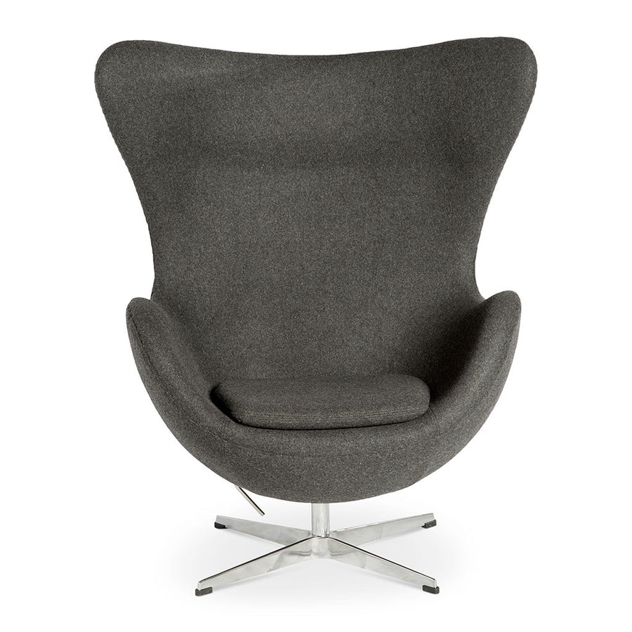 Mid Century Modern Replica Arne Jacobsen Cashmere Egg Chair in Dark Grey