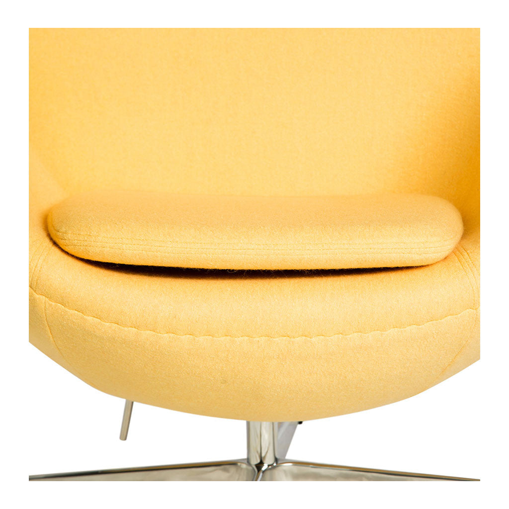 Mid Century Modern Replica Arne Jacobsen Cashmere Egg Chair in Yellow