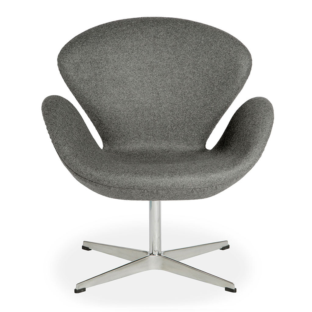 Beau Mid Century Modern Replica Arne Jacobsen Cashmere Swan Chair In Grey
