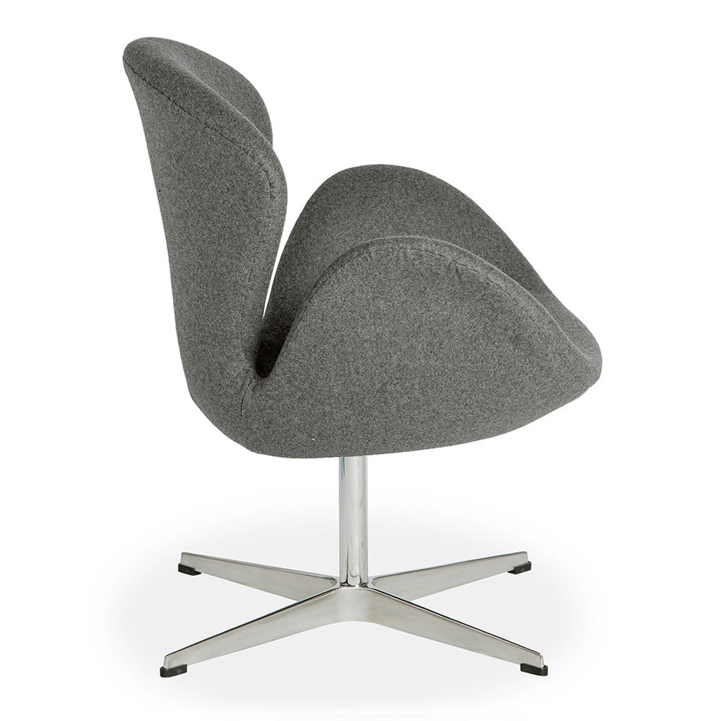 Mid Century Modern Replica Arne Jacobsen Cashmere Swan Chair in Grey
