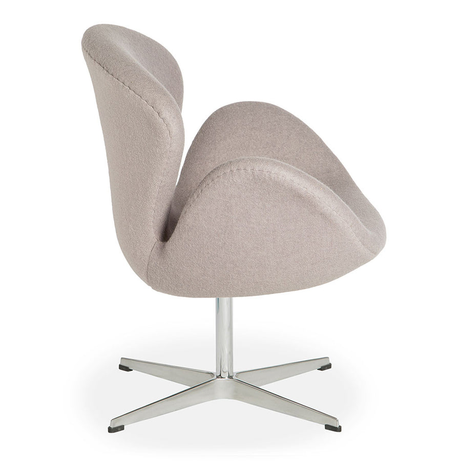 Mid Century Modern Replica Arne Jacobsen Cashmere Swan Chair in Light Grey