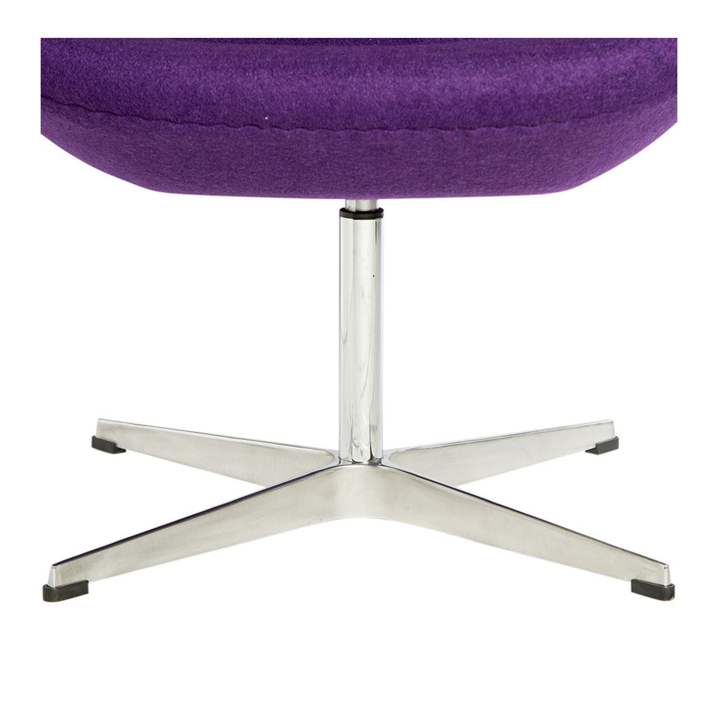 Mid Century Modern Replica Arne Jacobsen Cashmere Swan Chair in Purple