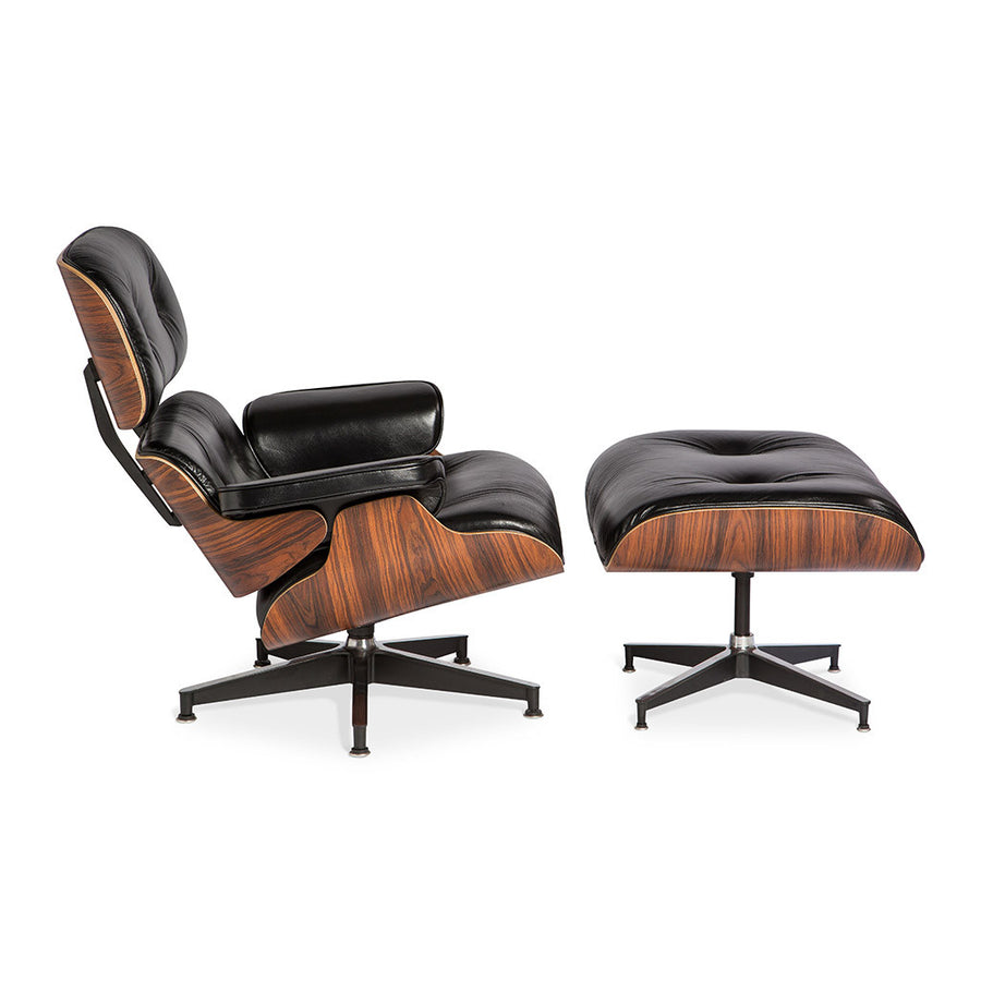 Mid Century Modern Replica Charles and Ray Eames Aniline Leather and Plywood Lounge Chair and Ottoman in Black
