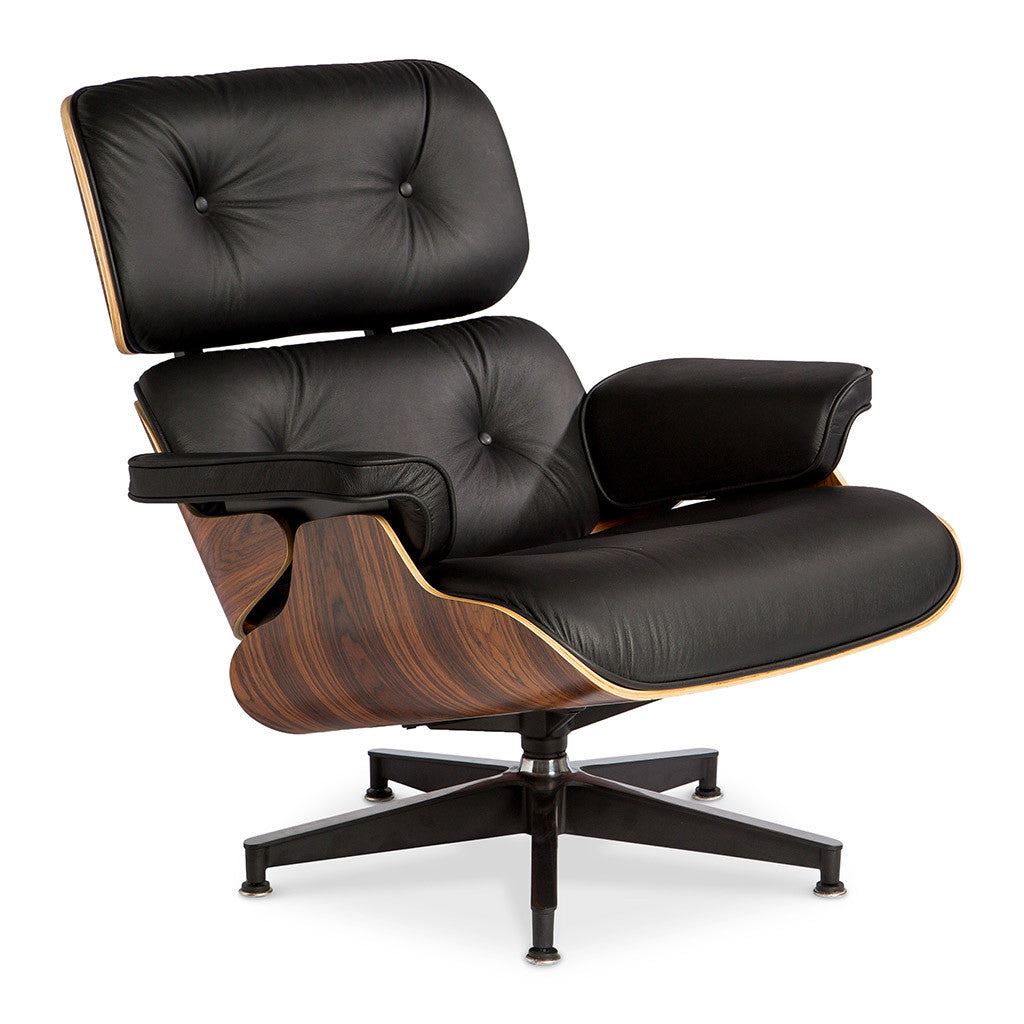 Mid Century Modern Replica Charles And Ray Eames Leather And Plywood Lounge  Chair And Ottoman In