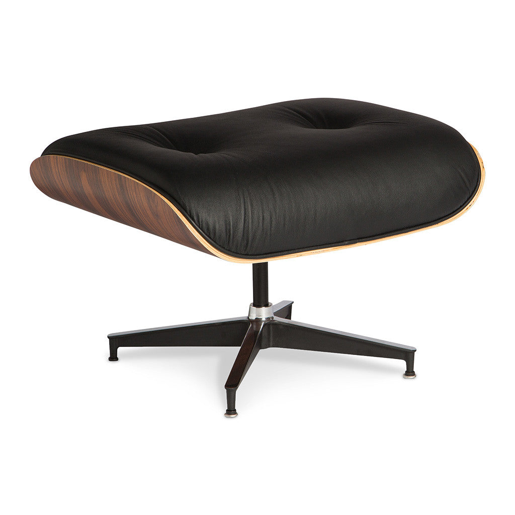Mid Century Modern Replica Charles and Ray Eames Leather and Plywood Lounge Chair and Ottoman in Black