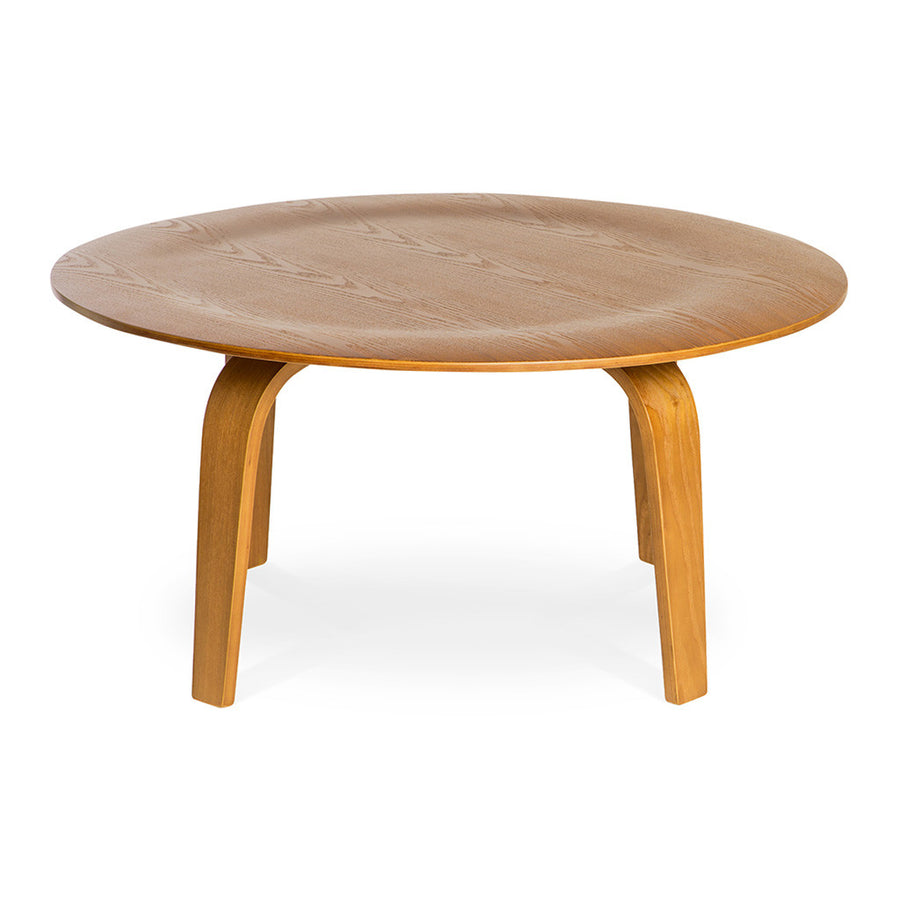 Mid Century Modern Replica Charles and Ray Eames Moulded Plywood Coffee Table in Light Walnut