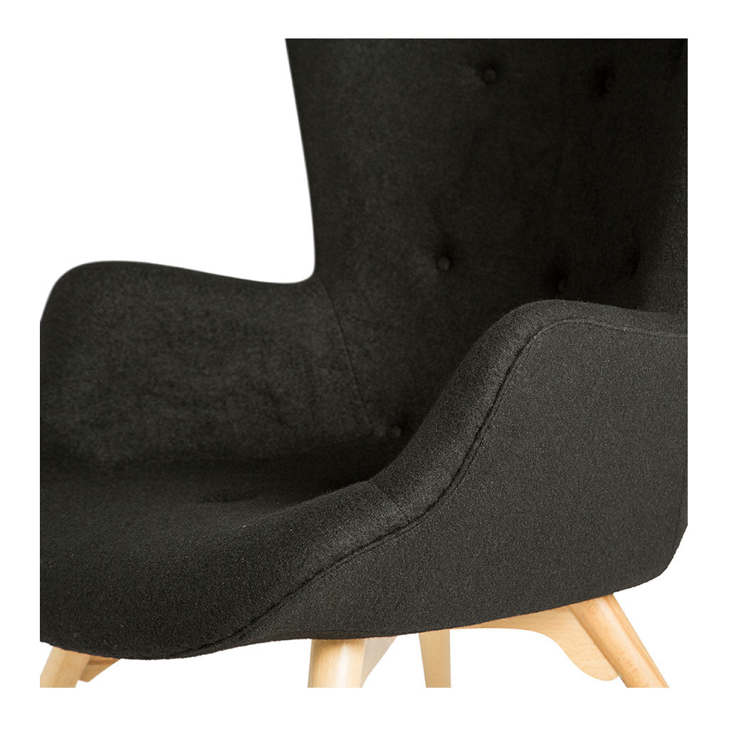 Mid Century Modern Replica Grant Featherston Cashmere and Wooden R160 Contour Chair and Ottoman in Black