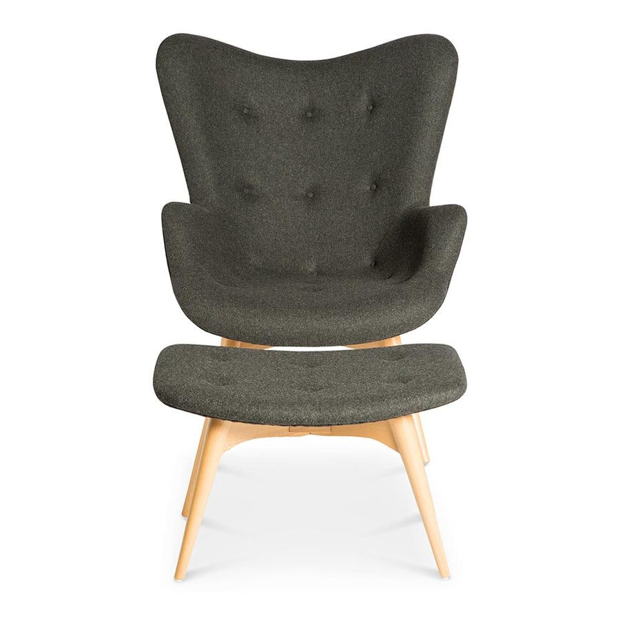 Mid Century Modern Replica Grant Featherston Cashmere and Wooden R160 Contour Chair and Ottoman in Dark Grey
