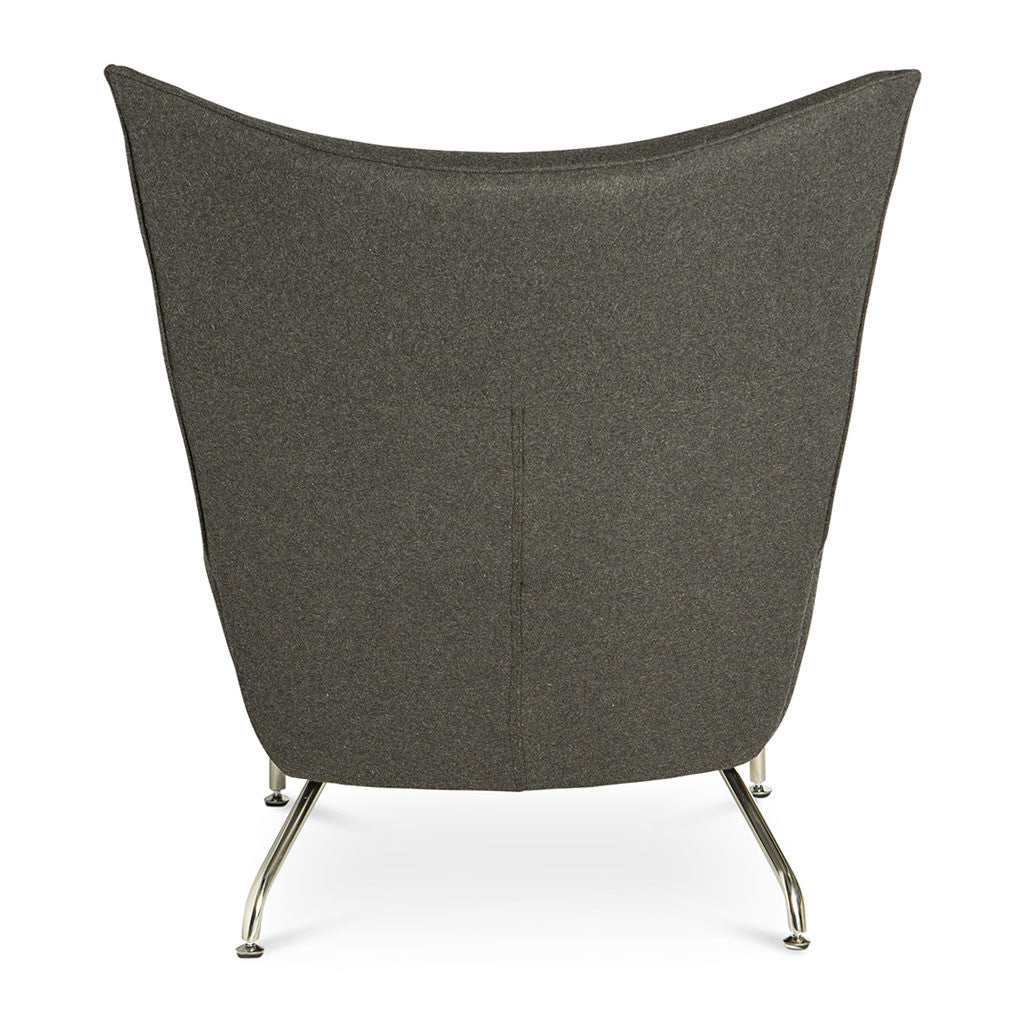 Mid Century Modern Replica Hans J. Wegner Cashmere CH445 Wing Chair and Ottoman in Dark Grey