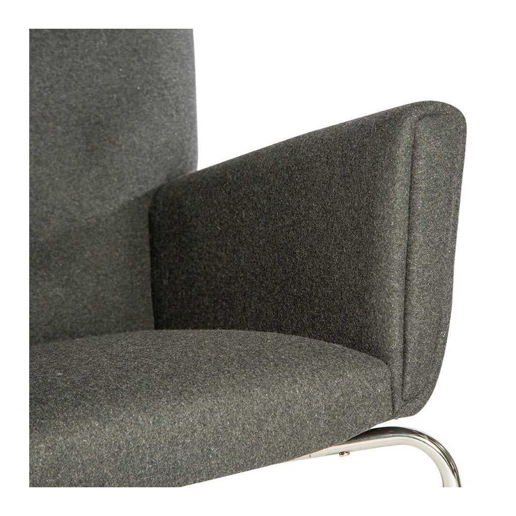 Wegner CH445 Wing Chair + Ottoman Replica (Cashmere) - Charcoal