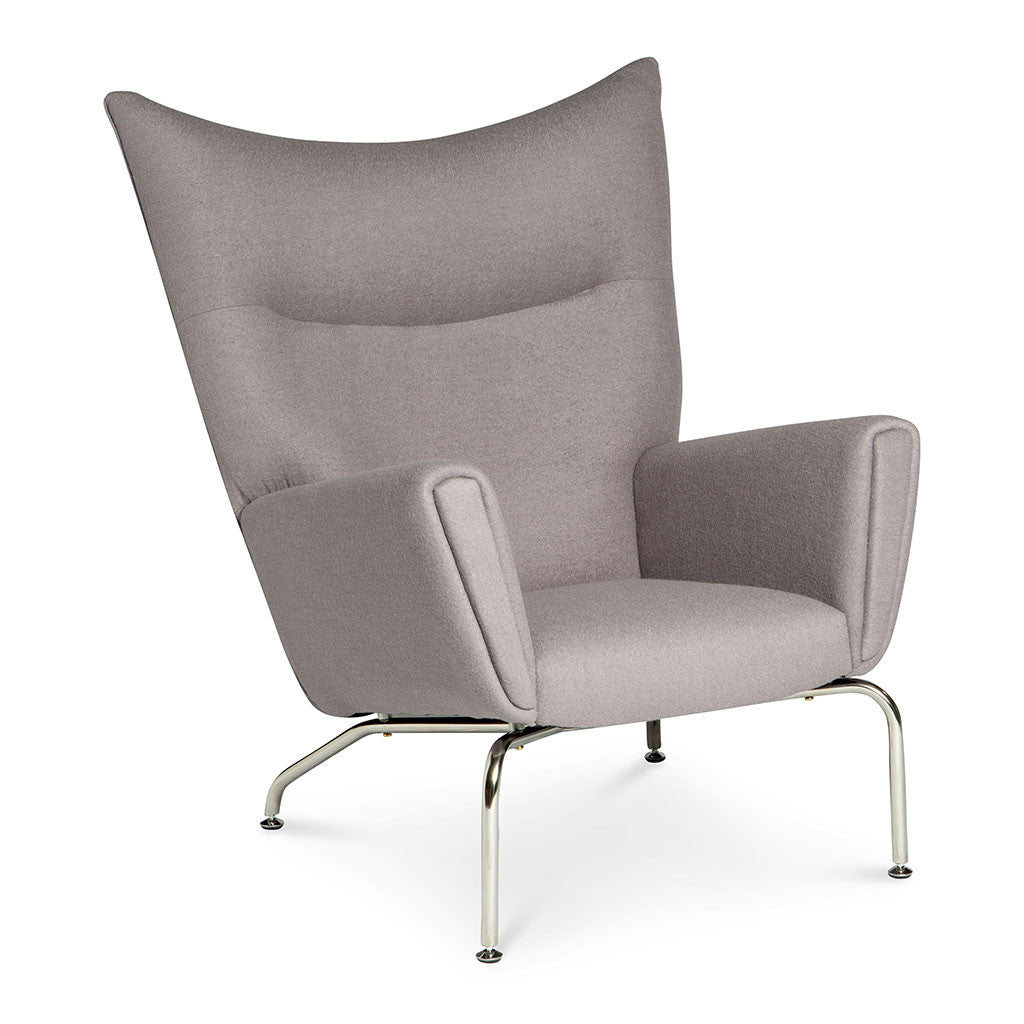 Mid Century Modern Replica Hans J. Wegner Cashmere CH445 Wing Chair And  Ottoman In Light