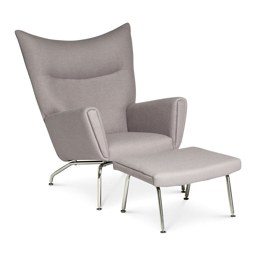 Wegner ch445 wing chair ottoman replica cashmere grey the design edit - Wegner wing chair replica ...